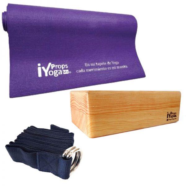kit básico de yoga: tapete, bloque de madera y cinturón de algodón